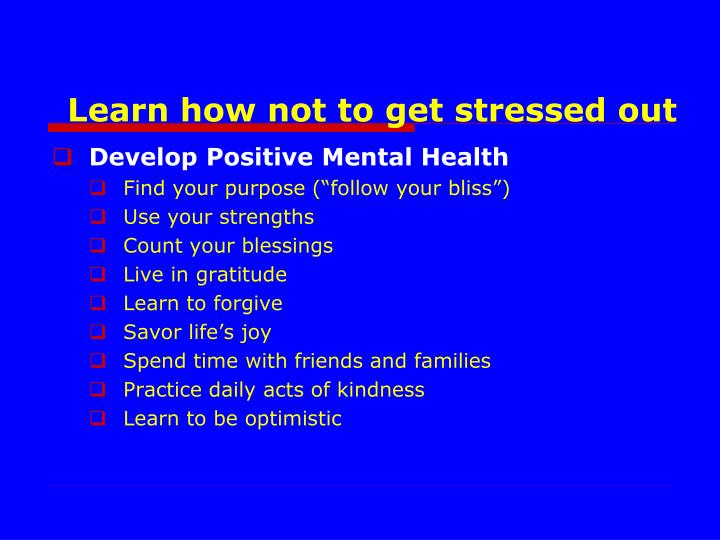 Develop Positive Mental Health