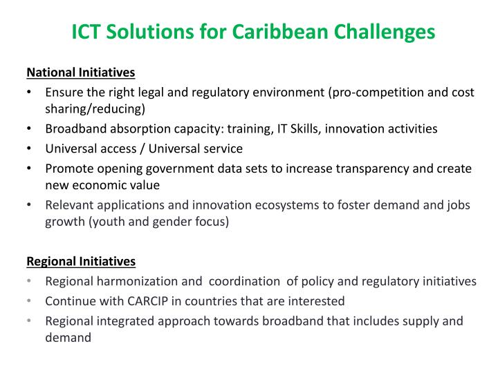 ICT Solutions for Caribbean Challenges