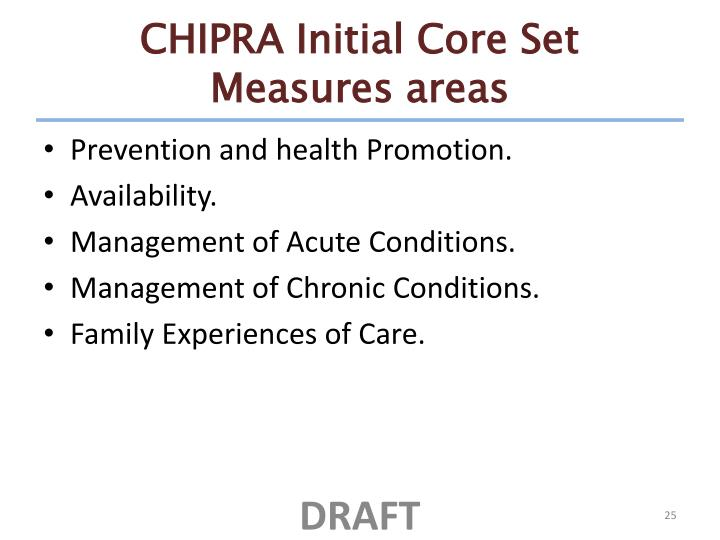CHIPRA Initial Core Set Measures areas
