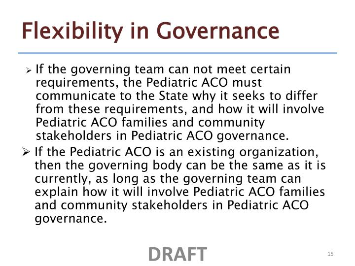 Flexibility in Governance