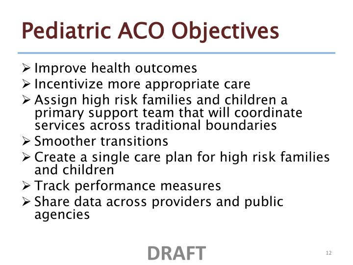 Pediatric ACO Objectives