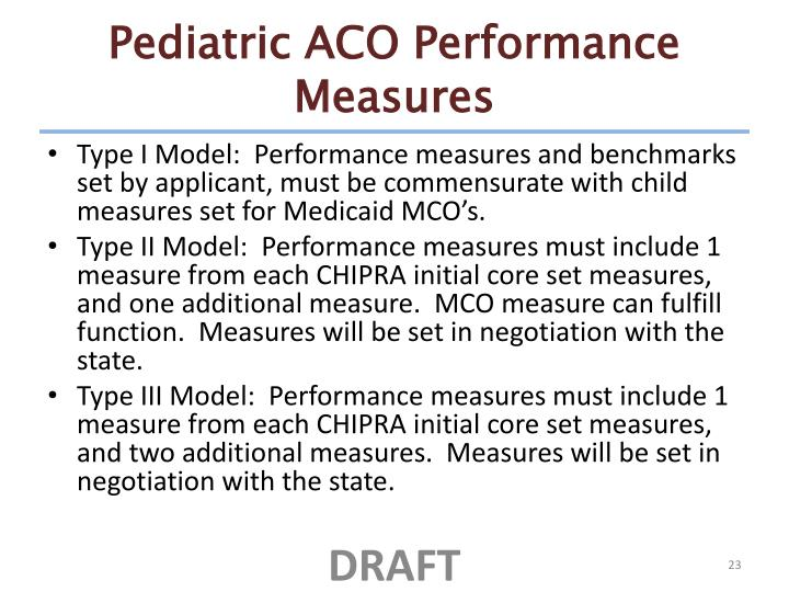 Pediatric ACO Performance Measures
