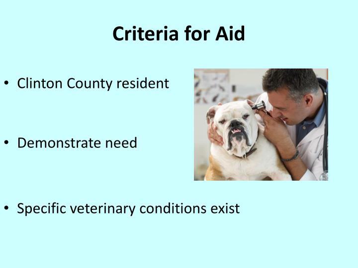 Criteria for Aid