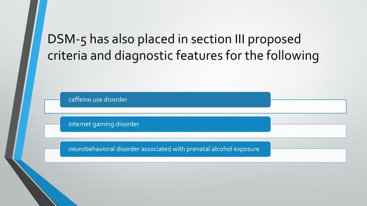 DSM-5 has also placed in section III proposed criteria and diagnostic features for the
