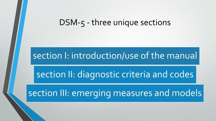 DSM-5 - three unique sections