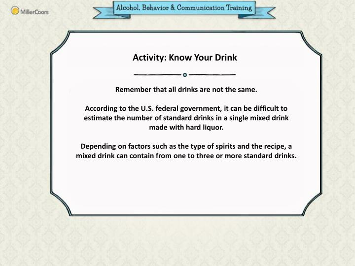 Activity: Know Your Drink