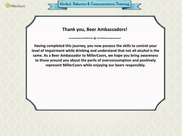 Thank you, Beer Ambassadors!