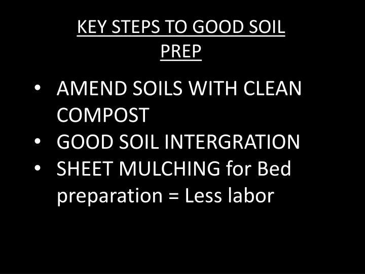 KEY STEPS TO GOOD SOIL PREP