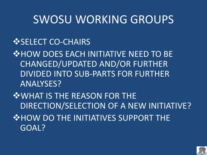SWOSU WORKING GROUPS