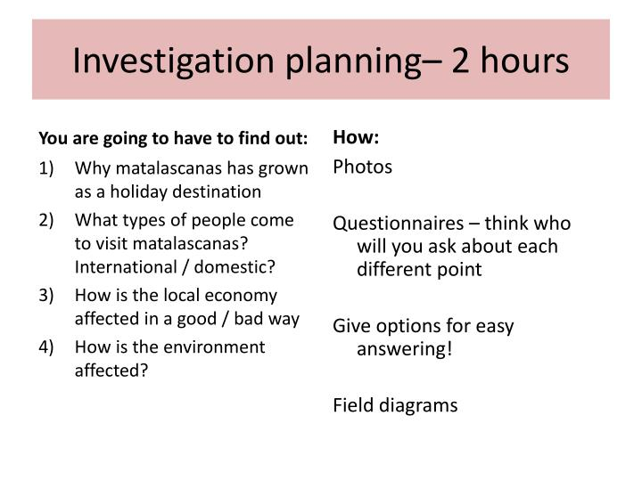 Investigation planning– 2 hours