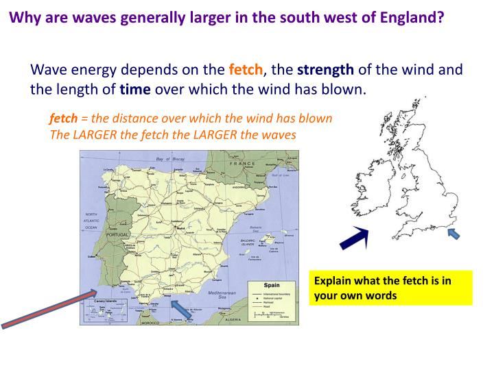 Why are waves generally larger in the south