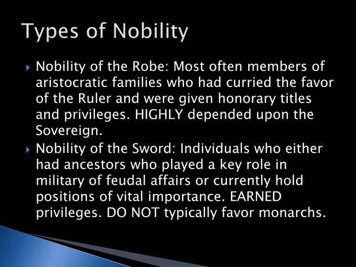 Types of Nobility