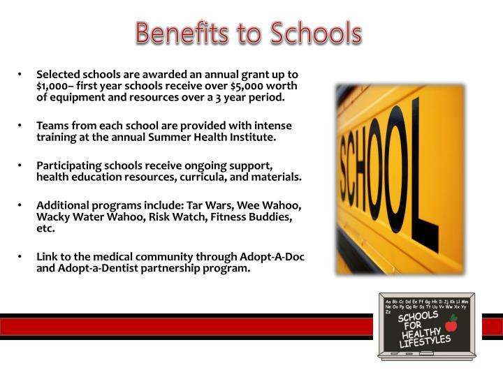 Benefits to Schools