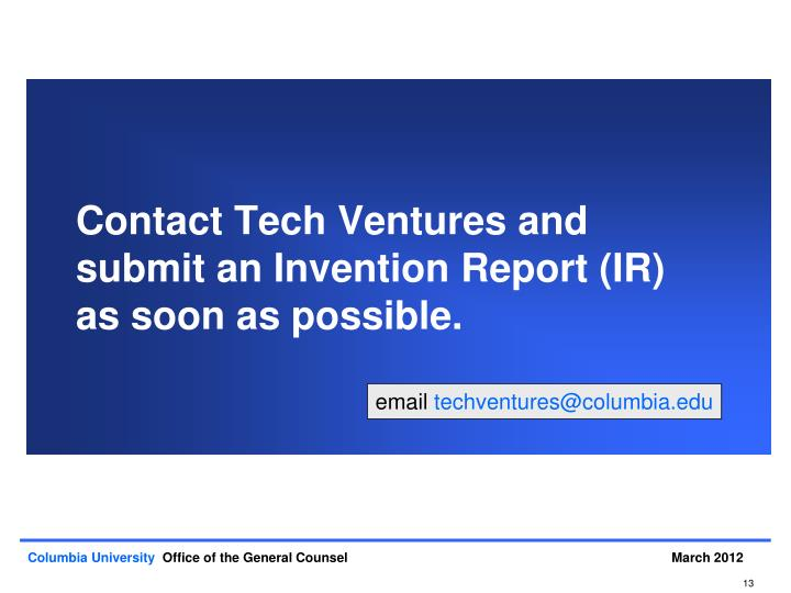 Contact Tech Ventures and