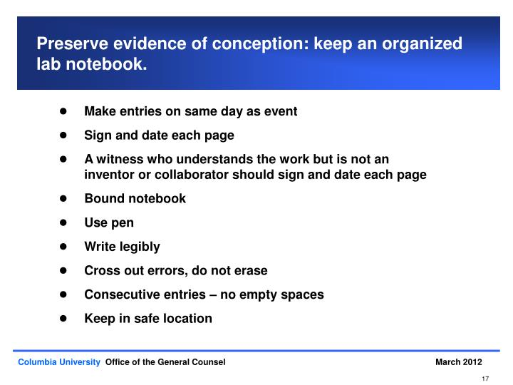 Preserve evidence of conception: keep an organized