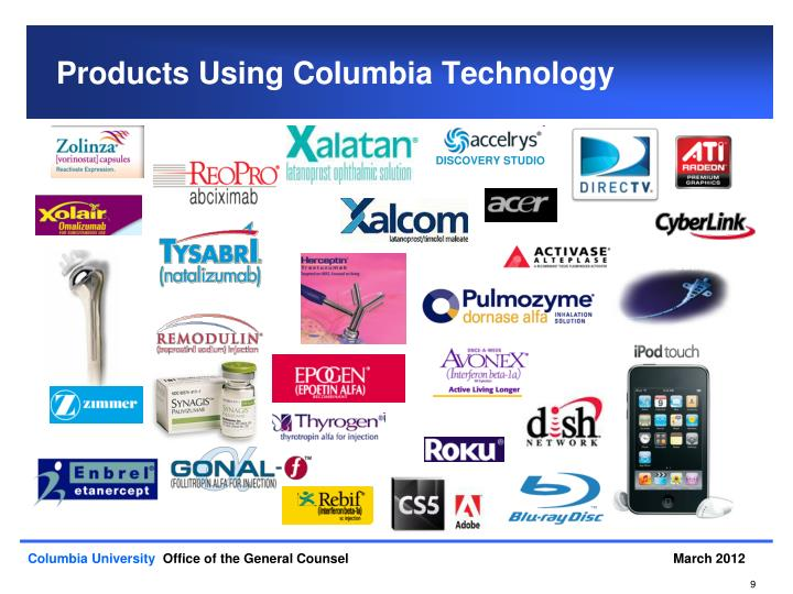 Products Using Columbia Technology