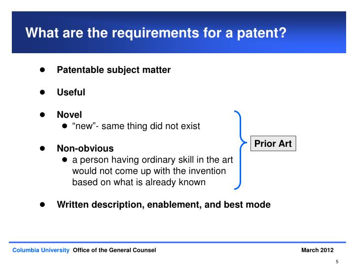 What are the requirements for a patent?