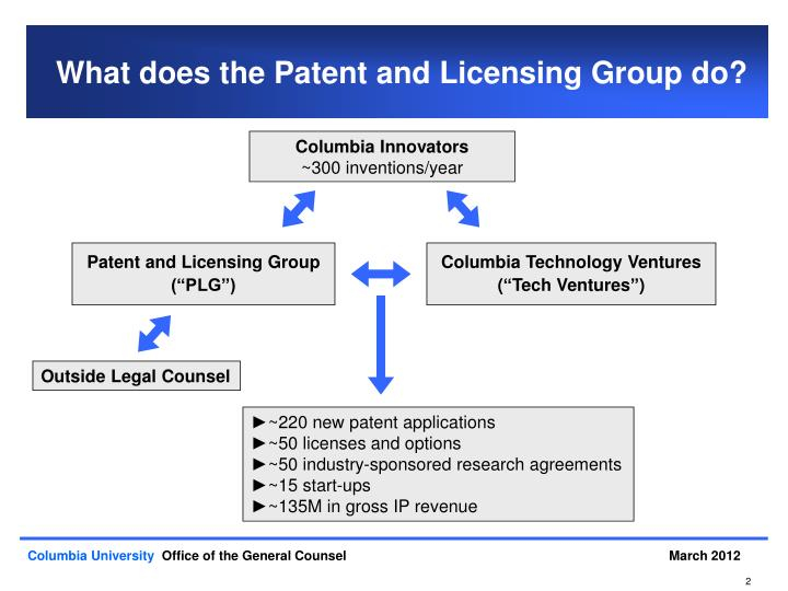 What does the patent and licensing group do