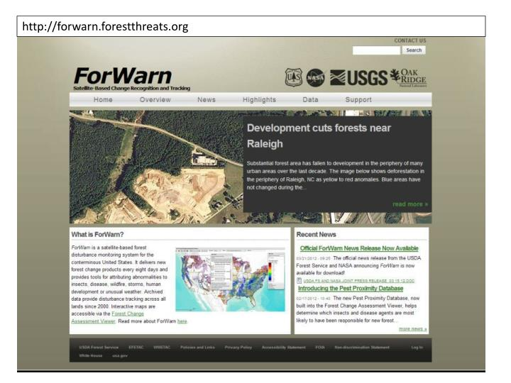 http://forwarn.forestthreats.org