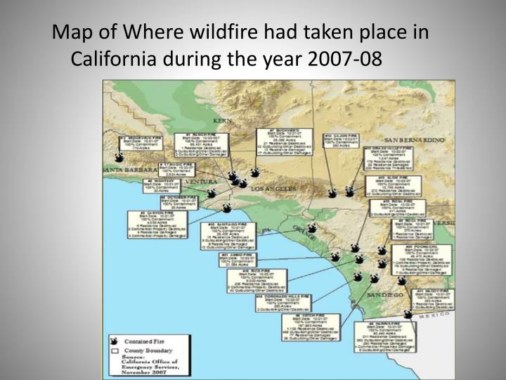 Map of Where wildfire had taken place in California during the year 2007-08