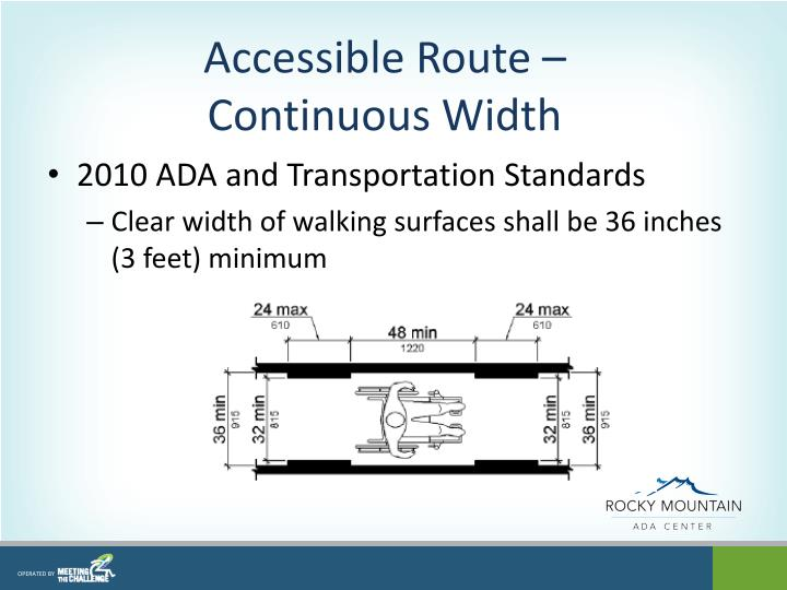 Accessible Route –Continuous Width