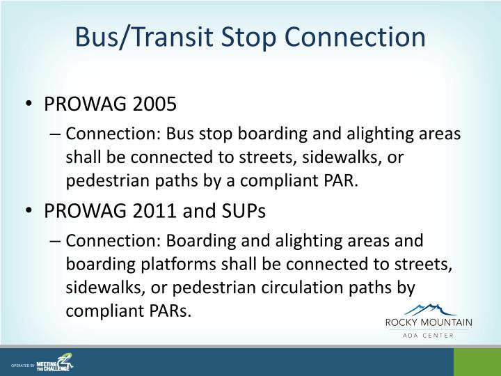 Bus/Transit Stop Connection