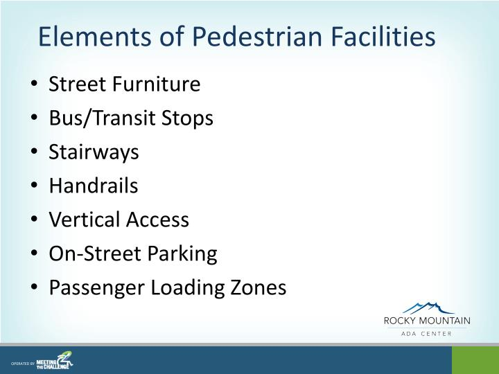 Elements of Pedestrian Facilities