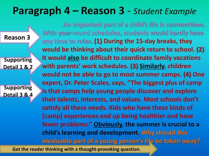 Paragraph 4 – Reason 3
