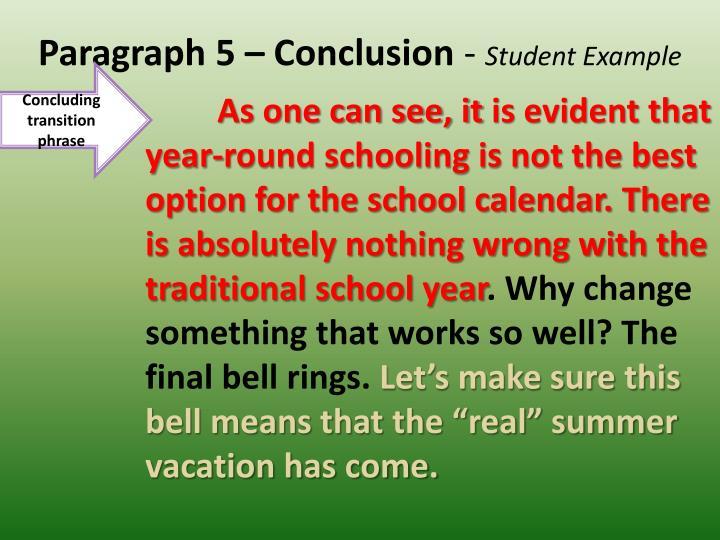 Paragraph 5 – Conclusion
