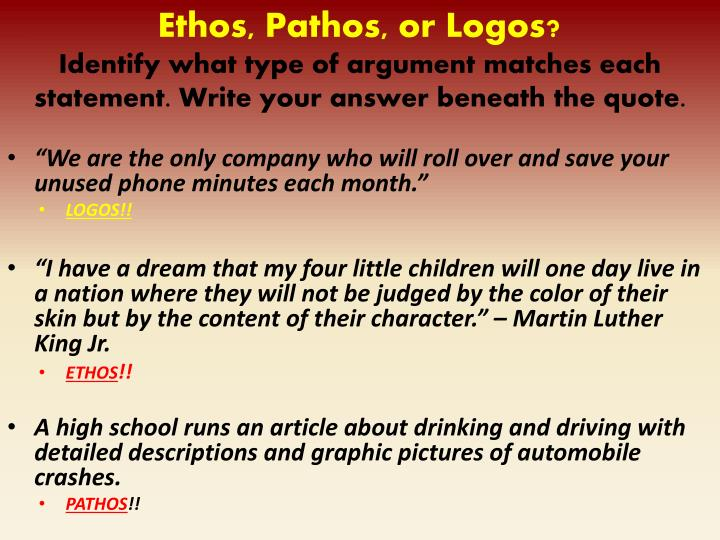 "martin luther king use of pathos logos and ethos I have a dream ethos pathos logos ethos  ""i have a dream that my four little   king is reminding the crowd of the hope they all once had that."