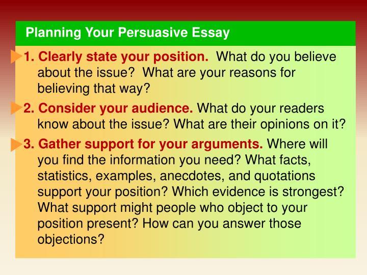Planning Your Persuasive Essay