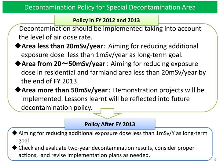Decontamination Policy for Special Decontamination Area