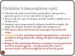 christaller s assumptions cont