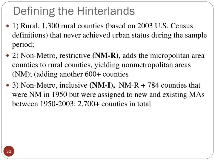 Defining the Hinterlands