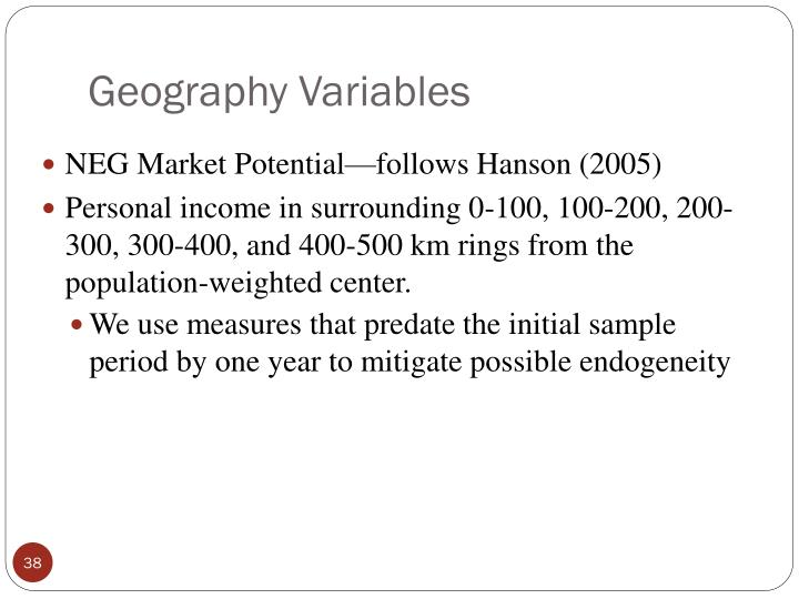 Geography Variables
