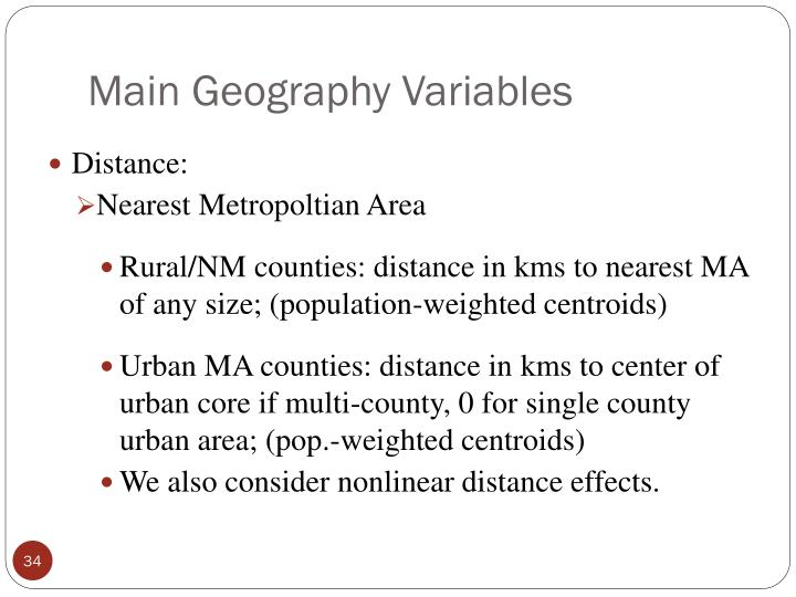 Main Geography Variables