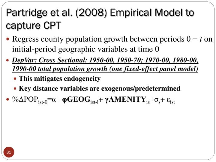 Partridge et al. (2008) Empirical Model to capture CPT