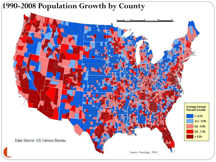 1990-2008 Population Growth by County