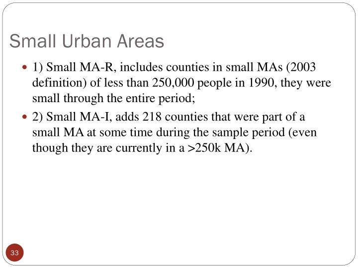 Small Urban Areas