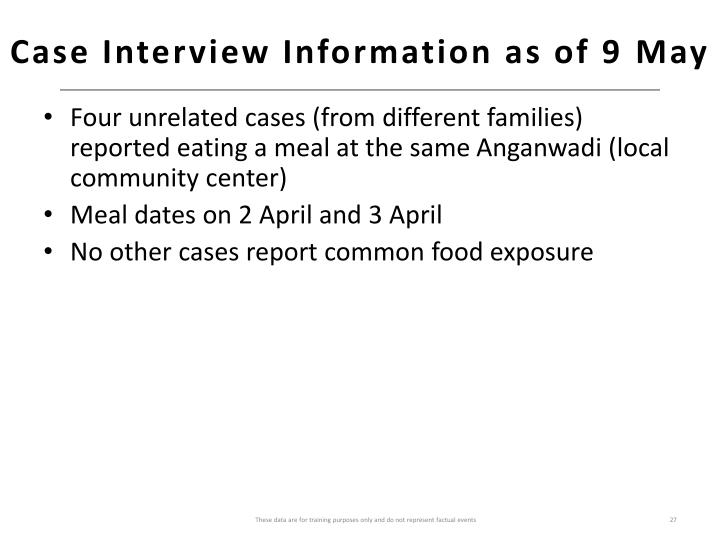 Case Interview Information as of 9