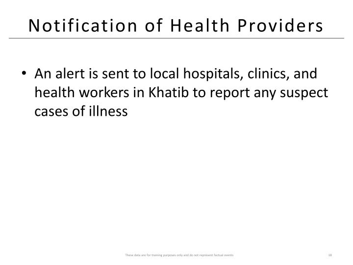 Notification of Health Providers