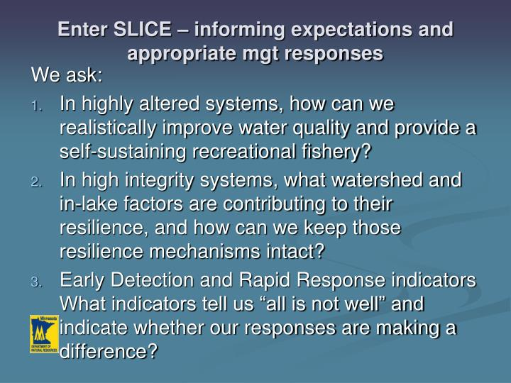 Enter SLICE – informing expectations and appropriate mgt responses