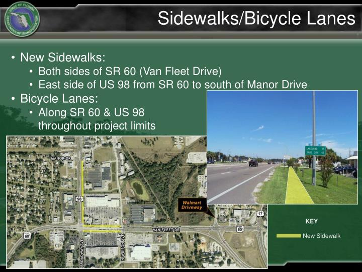 Sidewalks/Bicycle Lanes