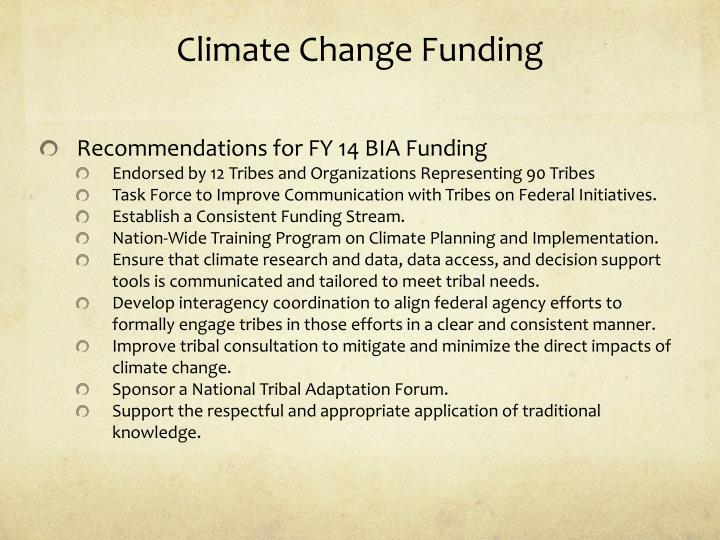 Climate Change Funding