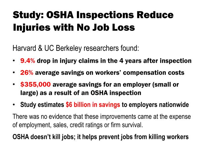 Study: OSHA Inspections Reduce Injuries with No Job Loss