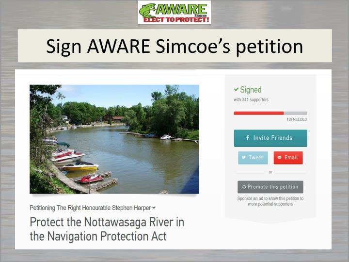 Sign AWARE Simcoe's petition