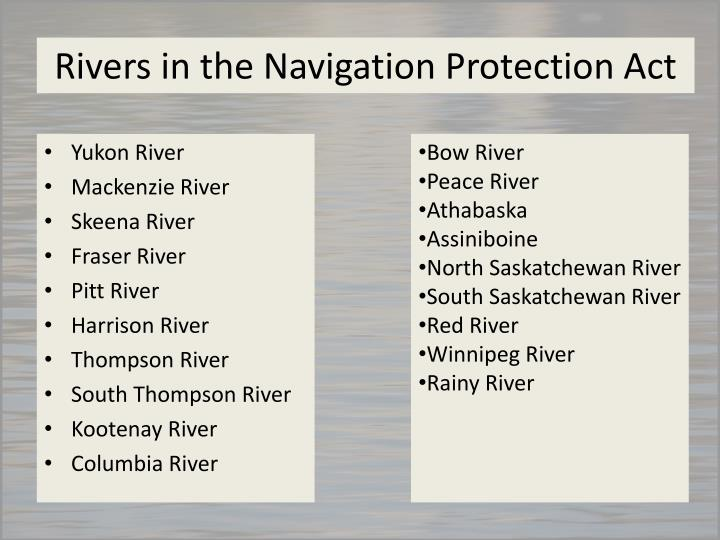 Rivers in the Navigation Protection Act