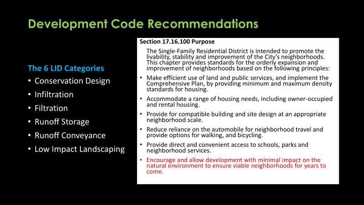 Development Code Recommendations