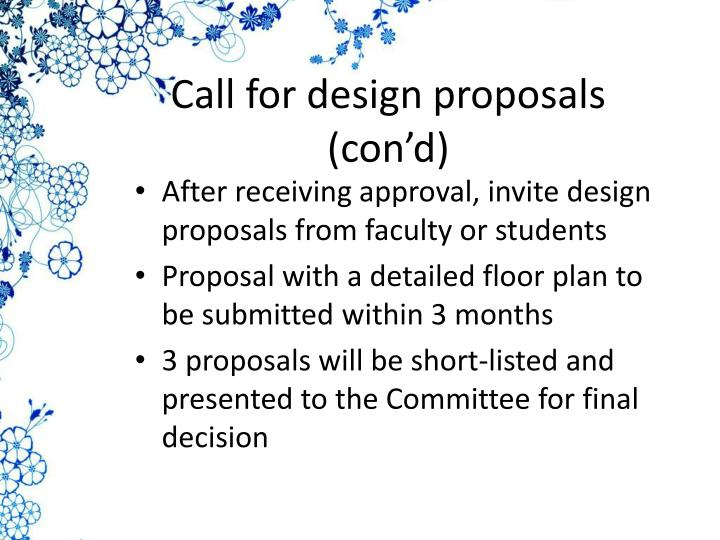 Call for design proposals (