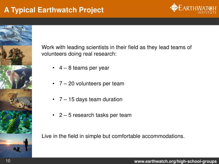 A Typical Earthwatch Project